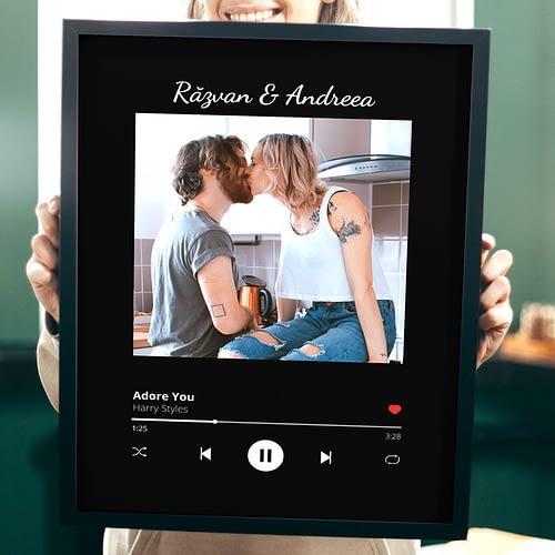 Tablou Personalizat cu o poza si melodie la alegere cu stil de player Spotify