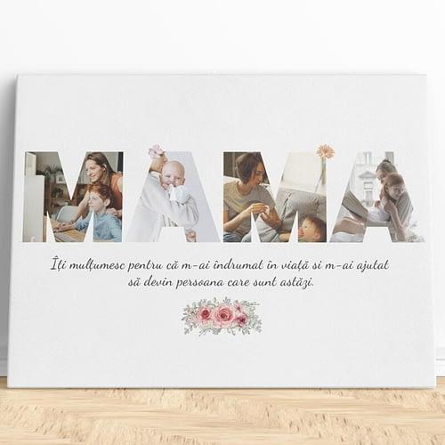 Tablou canvas personalizat pentru Mama, 4 poze si mesaj