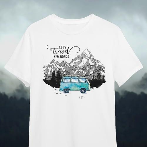 Tricou personalizat lets travel new roads, 01