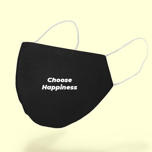 Masca textila personalizata cu text choose happiness, 02