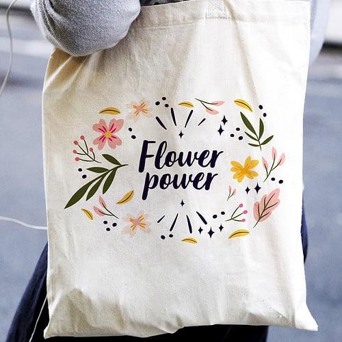 Sacosa textila personalizata cu flori si text, 03