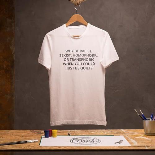 tricou unisex personalizat cu why be racist.., 02