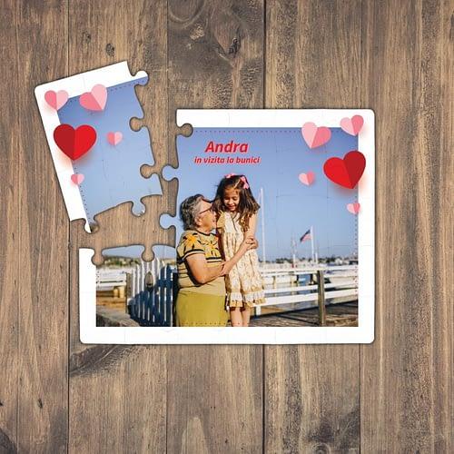 puzzle personalizat cu o poza, inimioare si text