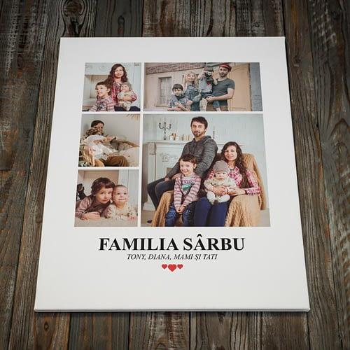Tablou canvas personalizat cu 5 poze si cu text, 40x50cm, CNV03