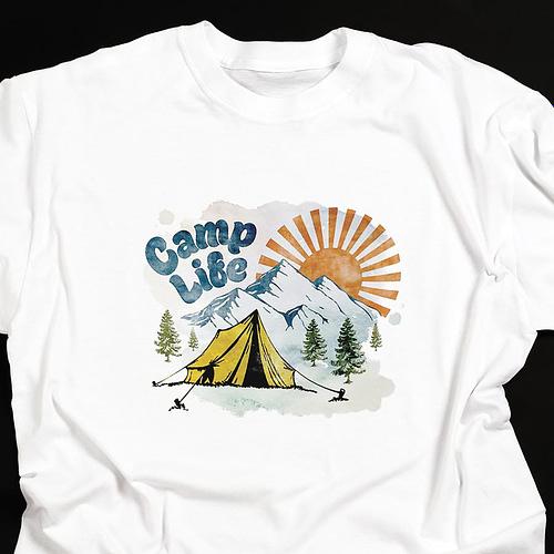 Tricou personalizat cu peisaj si text Camp life, 01