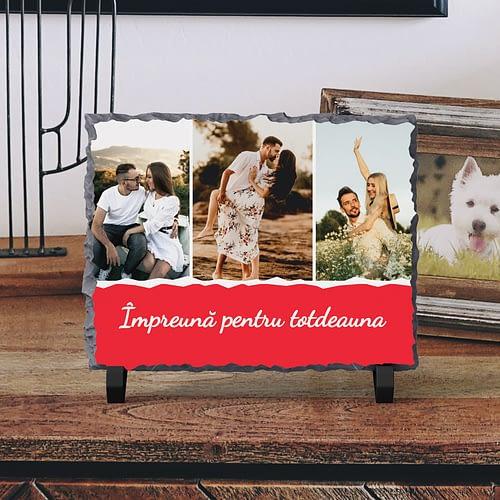 Placa de Ardezie Personalizata cu 3 Poze si text, PPA05