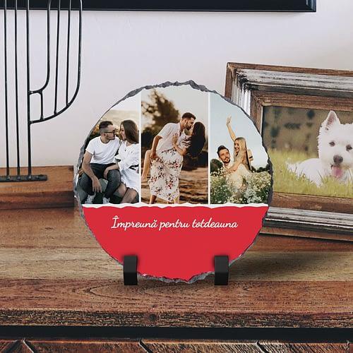 Placa de Ardezie Personalizata cu 3 Poze si text, PPA07