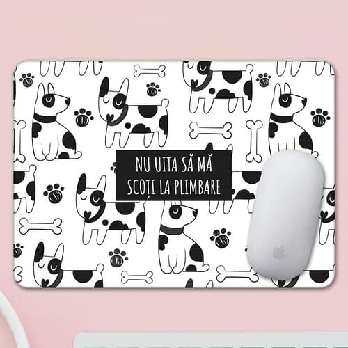 Mouse pad personalizat cu text si fundal cu caini, 03