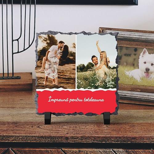 Placa de Ardezie Personalizata cu 3 Poze si text, PPA06