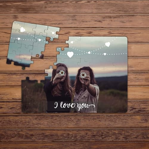 Puzzle Personalizat Magnetic, o poza cu inimioare si text