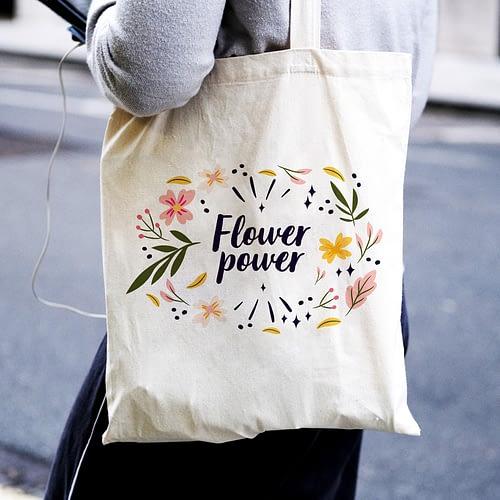 Sacosa textila personalizata cu flori si text, 02