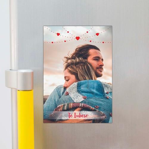 magnet foto personalizat, o poza cu inimioare si text, A4, 02