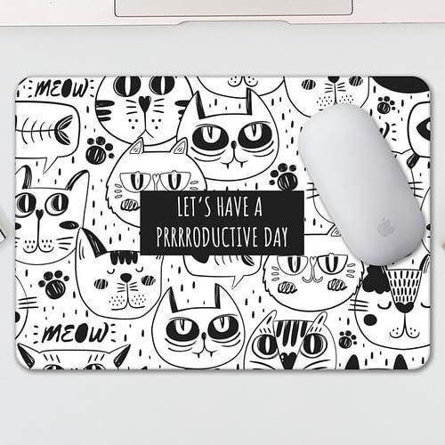 Mouse pad personalizat cu text si fundal cu pisici, 03