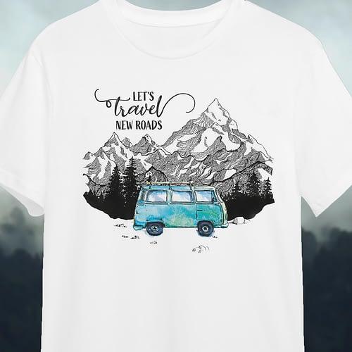 Tricou personalizat lets travel new roads, 02