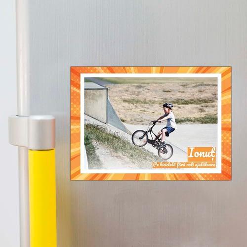 magnet foto personalizat, o poza cu rama si text, A4, 02