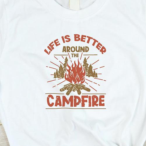 Tricou Personalizat cu ilustratie si text camp fire, 02