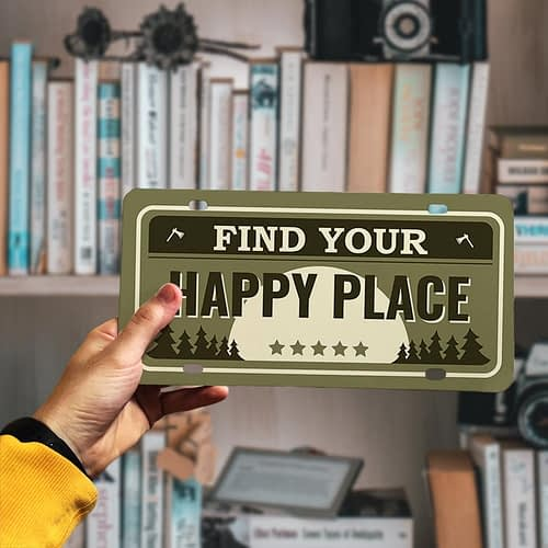 Placuta auto personalizata tip SUA, Find your Happy place, 01