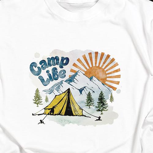 Tricou personalizat cu peisaj si text Camp life, 02