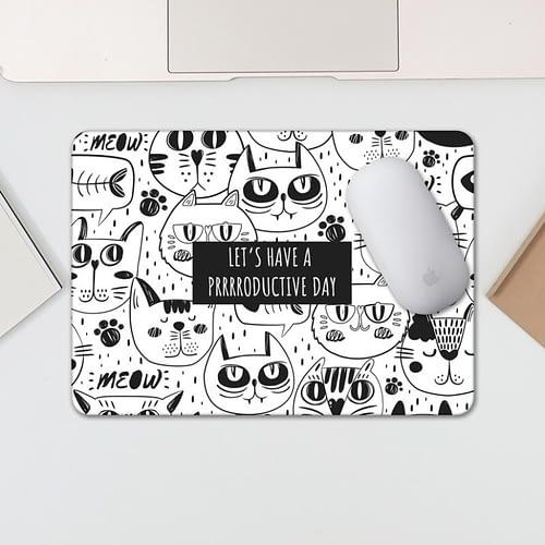 Mouse pad personalizat cu text si fundal cu pisici, 02