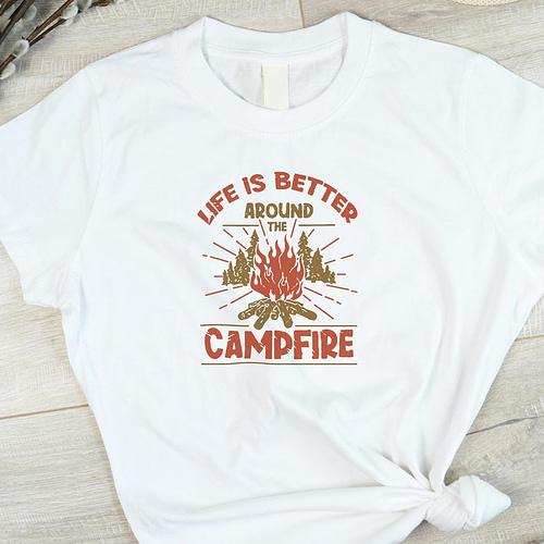 Tricou Personalizat cu ilustratie si text camp fire, 01