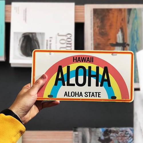 Placuta auto personalizata tip SUA, Aloha, 01